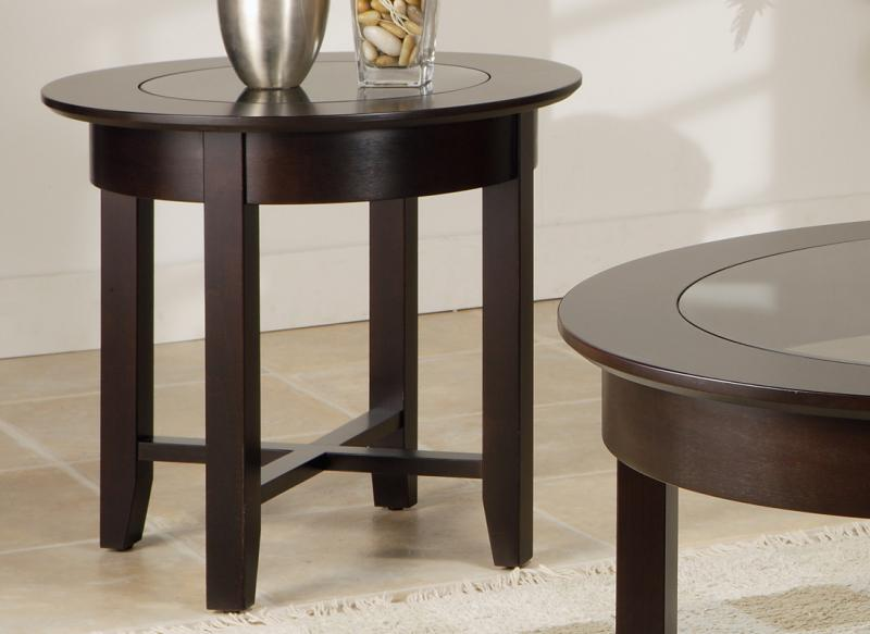 Demilune Round End Table W Glass Top Handstone