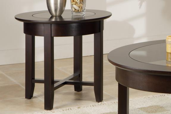 Photo of Demilune Round End Table w/Glass Top
