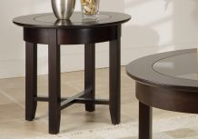 Demilune Round End Table w/Glass Top