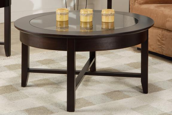 Photo of Demilune Round Coffee Table w/Glass Top
