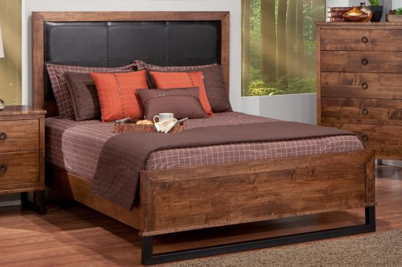 Photo of Cumberland Bed w/Leather Headboard w/low Footboard