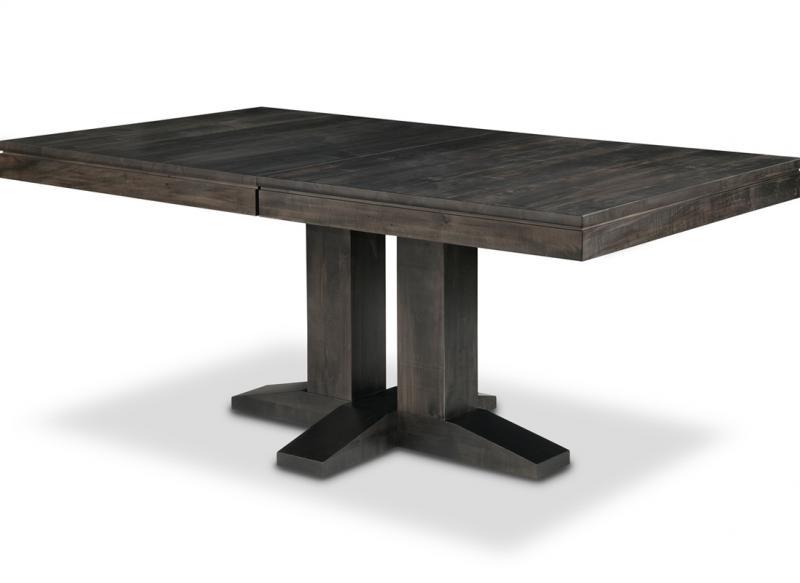 Steel City Double Pedestal Table 42x72 Solid Top Handstone