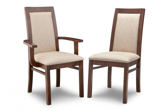 Brooklyn Padded Back Side Chair In Fabric Or Bonded Leather