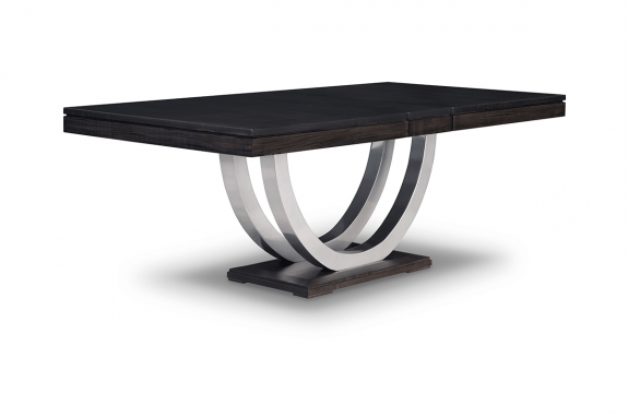 Contempo Metal Curve Pedestal 48x72 2 12 Dining Table