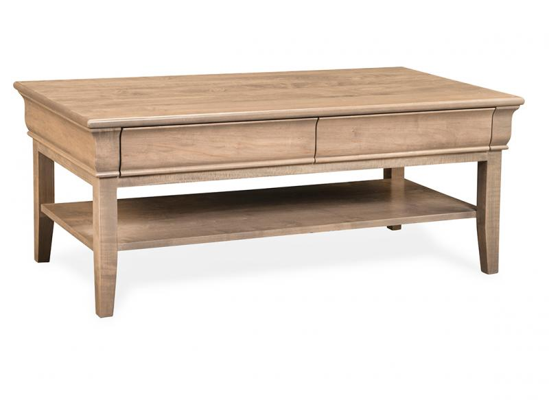 Monticello Rectangle Coffee Table With Shelf And 2 Drawers