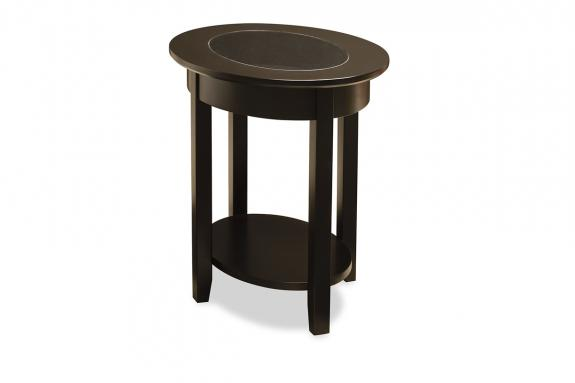 Photo of Demilune Elliptical Oval Glass Top End Table