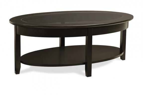 Photo of Demilune Elliptical Oval Glass Top Coffee Table